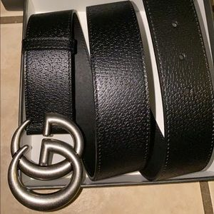 Silver buckle Black leather